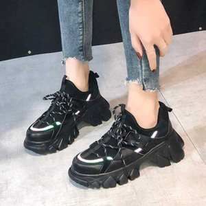 Weweya Mulher clara Sneakers New Jogging Chunky Running Shoes Ladies Casual respirável Lace Up formadores preto sapatas frescas