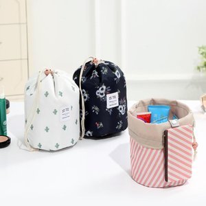Cactus flamingo Flower Printing Barrel Shaped Makeup Cosmetic Bags Drawstring Travel Pouch Toiletry Bags LX8520
