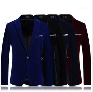 Casual estilo de los Blazers de diseño para hombre ropa de otoño botón color sólido de manga larga solapa del cuello Homme sola ropa de negocios