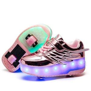 LED niños de rodillos Zapatos de carga USB luminoso zapatillas con ruedas niños Wing Shoes Niño Niña iluminación Skatee Roller