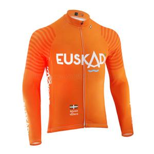 2020 EUSKADI PRO Велосипедная команда Джерси мужская Оранжевый Длинный рукав Летний Тонкий / Зимой Флис Дорога Гонки Велосипед Носить Одежда Горный Велосипед Джерси