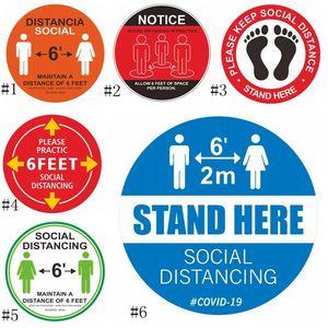 PVC impermeável Tape Marcação Piso etiqueta Mantenha distância de 6 pés sinal de piso social Distância Etiqueta EEA1776