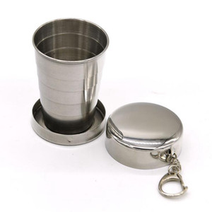 75ML Collapsible Cup Stainless Steel Portable Retractable Telescopic Outdoor Travel Camping Foldable Water Cup With Keychain 30pcs OOA7520
