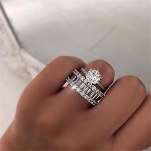 Unico 2 pz coppia anelli gioielli classici sei artiglio reale 925 sterling argento bianco topaz stack cz diamante donne anello nuziale da sposa set