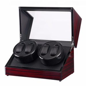 GENBOLI Watch Winders 4 Skuts Lacquer Wood Round Electric Watch Box Silent Motor Display Clock Clock