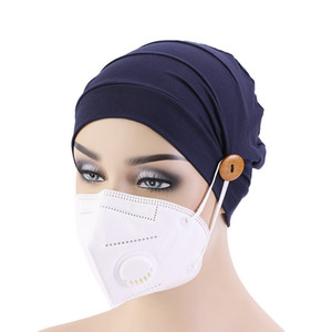 Chemo Hat Soft Cotton Loss Cancer Hat with Button for Wearing Mask Ear Protection Hat Turban Women Sleep Cap Ladies Headwear
