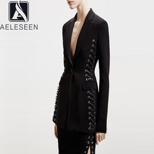 AELESEEN 활주로 패션 블랙 재킷 2020 년 봄 여름 고품질 사무실 숙녀 붕대 포켓 슬림 작업 블레이저스