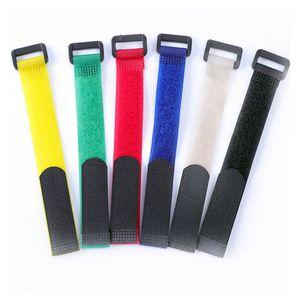50pcs riutilizzabile in nylon Fascette Hook e Loop fascetta con occhiello foro Cavi organizzatore Hook ciclo cinghie appiccicose 2 x 20 cm