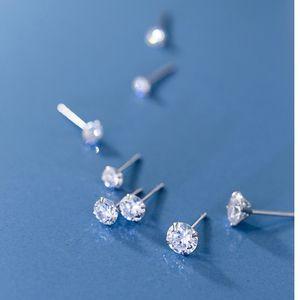 Pendientes Studs pequeña Ronda de circonio cúbico de 925 bodas de plata de la joyería del Mens manera de las mujeres Pequeño Pendientes de Navidad