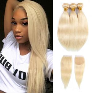# 613 Bundles de cheveux blonds avec fermeture malaisienne vierge cheveux raides 10-28 pouces 3 faisceaux avec fermeture à lacets Remy Extensions de cheveux humains