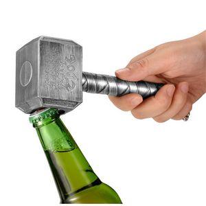 Abrebotellas de cerveza plateado Abrebotellas de cerveza multifuncional con forma de martillo de Thor con abrebotellas de mango largo