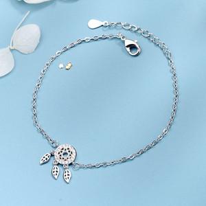 S925 Pure Silver pulseira Estudante de mulher fresco pequeno presente Acessórios Zircon borlas de penas Prendam Monternet Bracelet