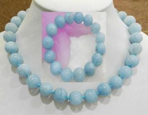 """Jewelryr yeşim seti yeni 14mm Brezilyalı aquamarine taşlar yuvarlak boncuk kolye 17+ bracelet 7 """"ücretsiz nakliye"""