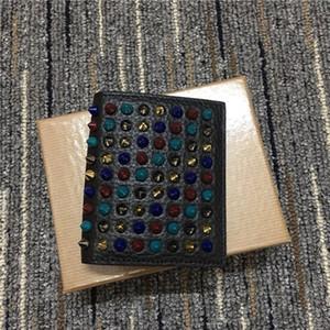 di alta qualità in pelle nera stelle portafogli in pelle estate 2020 con lo stesso gradiente rivetti breve paragrafo pieghevole multicolore sacchetto della carta wallet