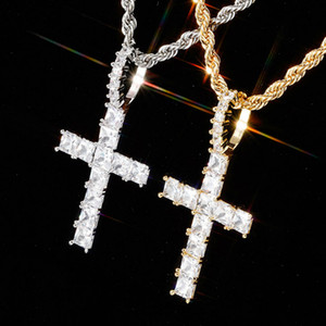 personalized Vintage Rose Gold Blingbling Diamond Iced Out Cross Pendant Chain Necklace Square Cubic Zirconia Jewelry Gift For Men Women