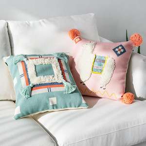 43 * 43 см декоративные диван чехлы Марокко геометрические черный и белый тафтинговый кисточкой наволочка Рождество наволочка
