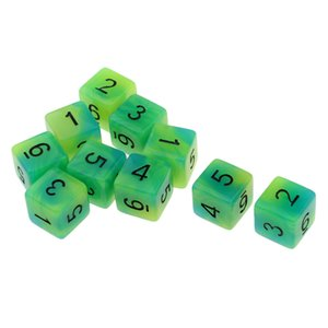 Plastic 6-Sided Dice Noctilucent Dices Set for D&D TRPG Cup Game Pack of 10, Numbers 1-6
