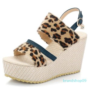 Hot2019 Slope Leopard Print Spelling Color Straw Plaited Article With Will Sandals Women's 40-43 Length Year Old 13-1