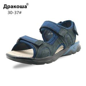 Apakowa 남자 진짜 가죽 작은 소년 아동 여름 오픈 발가락 스포츠 샌들 아동 신발 3 스트랩 HookLoop 비치 샌들