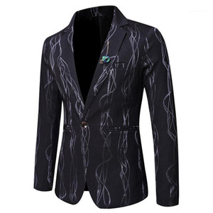 Button Panelled Mens Blazers Casual Males Clothing Line Print Mens Designer Blazers Fashion Slim Luxury Single
