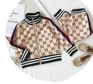 Casual Спортивная ребенок и младенцев Детская одежда Мода Contrast Цвет Двухсекционный Письмо Кардиган куртки Baby набор оптом Детская одежда