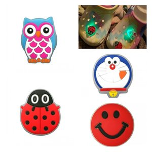 1pc Smile Face LED Lighted Shoe Charms Owl Ladybug Shoe Decoration Doraemon Shoes Accessories Croc Charms JIBZ Kids Gift