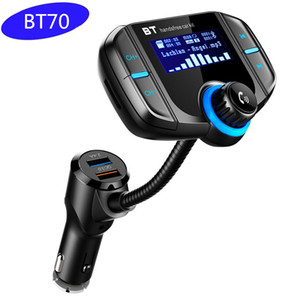 BT70 Car Kit Fm Transmiter Modulator QC 3.0 Quick Charger Bluetooth Handsfree Car Kit Radio MP3 Player Dual USB With AUX TF Card Slot