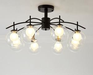 retro moderno del techo Lámpara lámpara de cristal Nordic Light comedor Cocina Luz suspendida Lustre iluminación LLFA