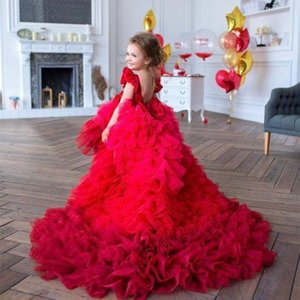 Red Tiered Ruffles Flower Girls Dresses For Weddings Sweep Train Jewel Neck Birthday First Girl Communion Pageant Gowns