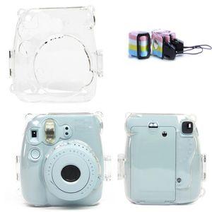 Kayış Kamera ile Fujifilm Instax Mini 09/08 için Temizle Sert Kılıf Koruyucu Kapak
