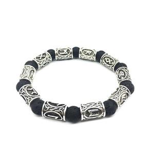 Bastante 10mm lava Perlas de plata brazalete de piedra antiguos de la vendimia beautifulBracelets de Viking runa nórdica aleación de joyería para las mujeres Pulsera Hombres