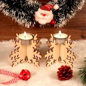 6pcs 12x8cm Natale fai da te in legno del fiocco di neve Candelieri Gifts Dinner Table decorazione di Natale per la casa Capodanno