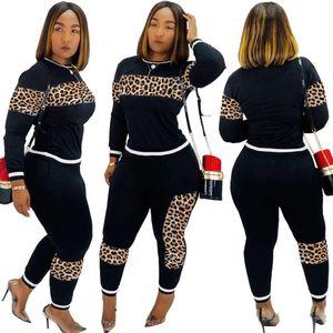 Vestito leopardo Camouflage Due pezzi set Women 'S Sport manica lunga felpa e pantaloni della tuta casuale Tuta da jogging Femme formato S-3XL