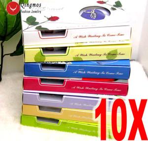 Qingmos Wholesale 10 Cajas Wish Pearl Heart Cage Holder Gargantillas Collar para Las Mujeres Oyster Love Pearl Colgante Collar Regalo Set C18122501