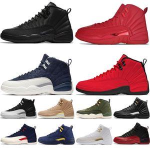 12s nuevos zapatos Winterized WNTR CNY Gimnasio Rojo Michigan baloncesto del Mens Juego Real Las zapatillas de deporte Maestro Juego de la gripe Taxi 12 alas de mens del deporte entrenadores