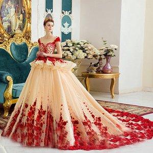 15 Anos de Prenses Champagne ile Kırmızı Flora Quinceanera Modelleri Balo kap Kol Şeffaf Boyun Peplum Yarışması Abiye Teens For vestidos