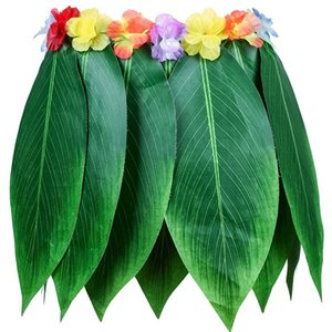 Elastic Ti Leaf Hula Skirt With Hibiscus Flower Leis 5Pcs Pack Luau Party Supplies Hawaiian Costume Set Amazing Party Favors D