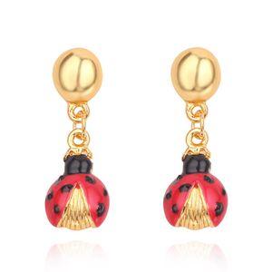 Joyería de moda Leopard Head lady beetle Stud Pendientes para mujer Chica Gold Earrings drop ship