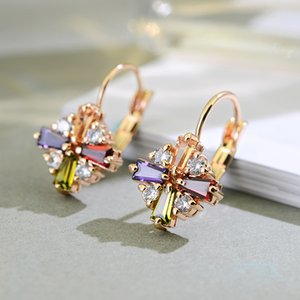 11.11 Deals New Multicolor CZ Stone Flower Shape Design Hang Earings For Bridal Wedding Party Bijoux Jewelry Best Christmas Gift