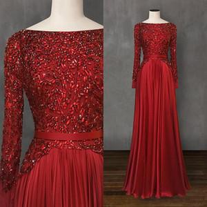 우아한 빨간 이브닝 드레스 2020 공식적인 드레스 저녁 착용 페르시 크리스탈 롱 Sleevess 댄스 파티 파티 드레스 가운 데 야회