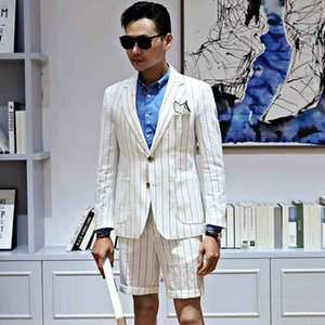 Mode mariage Stripe lin smokings de mariage culminé revers dîner de bal des hommes meilleurs costumes de blazer homme (veste + pantalon)