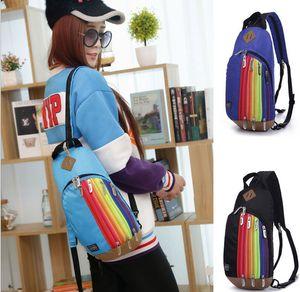 5 piezas Nuevo estilo de mochila para mujeres, mochila para niños, bolso de hombro de arco iris, paquete de cofre de nylon, bolsos de moda, envío gratis