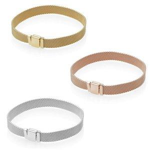 Authentische Sterlingsilber 925 Reflexions-Armband mit eingraviertem Logo Fit Pandora Stil Schmuck weiblichen Ineinander greifen Kette 10pcs / lot Sie Größe mischen