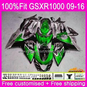 K9 For SUZUKI GSX-R1000 GSXR 1000 09 10 11 12 13 15 16 13HM.0 GSX R1000 GSXR1000 2009 2010 2011 2012 2014 2015 2016 Fairing Green silvery