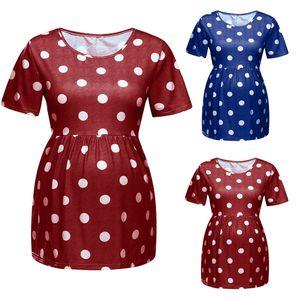 Maternity Top Short Sleeve Blouses T-Shirt Dress Clothes Women Dot Print O Neck Blouses Pregnancy Tops Womens Clothes Pregnant