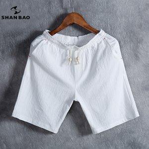 SHAN BAO brand мужская летняя мода сплошной цвет повседневные шорты тонкие дышащие хлопчатобумажные льняные свободные шорты белый черный серый синий CX200624