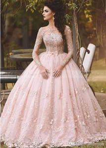 2020 Vestidos Erröten rosa Spitze Ballkleid Quinceanera Kleid mit langen Ärmeln Boot-Ausschnitt 3D-Flora Prinzessin Brautkleider Arabisch Dubai BA5448