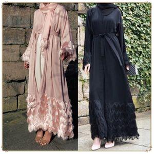 2019 Mode elegante Dubai Strickjacke muslimische haarige Spitze weibliche Roben abaya arabischen Türkei Frauen Kleidung islamische Kleidung