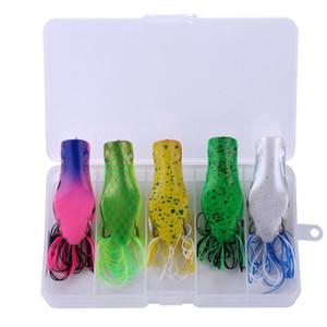 5pcs / boîte Frog Leurres Set Silicon appâts artificiels souple 70mm de pêche de l'appât avec la boîte