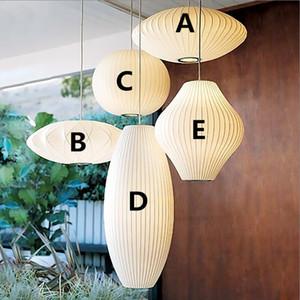 George Nelson Bubble soucoupe lampe blanche Pendentif en tissu soie légère Salle à manger Vêtements Boutique tissu restaurant Pendentif Lampe suspendue